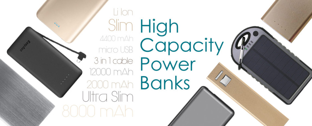 Promotional power banks with custom logo print.